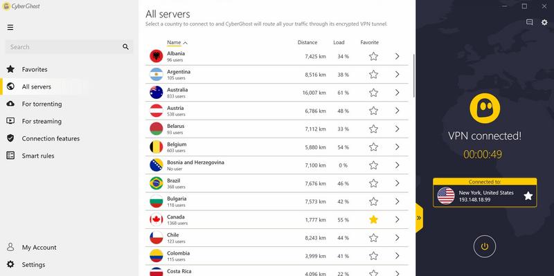 Zoznam všetkých dostupných VPN serverov CyberGhost s možnosťou označenia obľúbených, radených podľa jednotlivých krajín