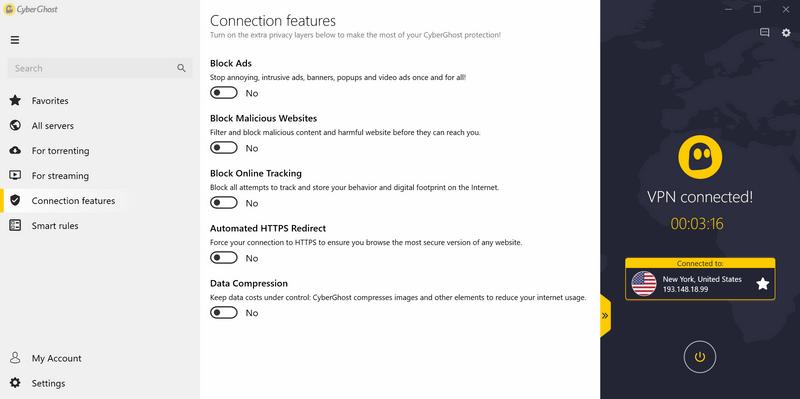 Ďalšie extra nastavenia aplikácie ako blokovanie reklám, trackovania, kompresia dát a podobne