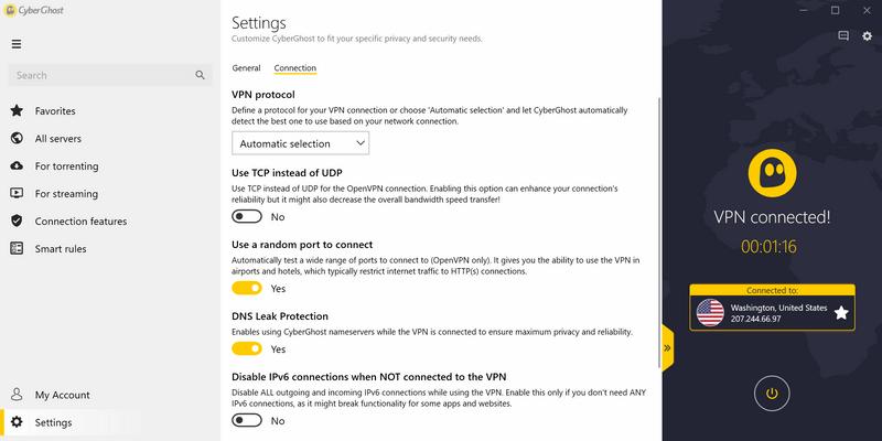 Rozšírené nastavenia VPN - výber protokolu, výber portov, ochrana proti úniku dát mimo VPN, a podobne