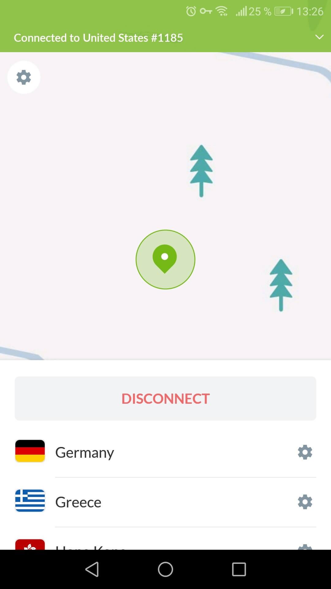 NordVPN aplikácia pre Android