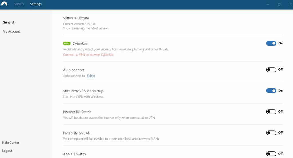 ukážka nastavení aplikácie NordVPN pre Windows