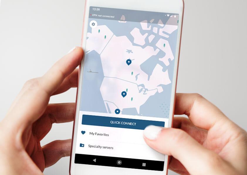 Ukážka rýchleho použitia mobilnej aplikácie NordVPn pre prijenie na VPN server